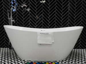 Black and White Tiles with White Bath