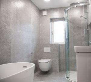 Grey Bathroom and Shower www.tilemerchant.ie
