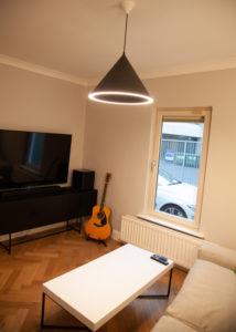 Living room floor with engineered wood flooring