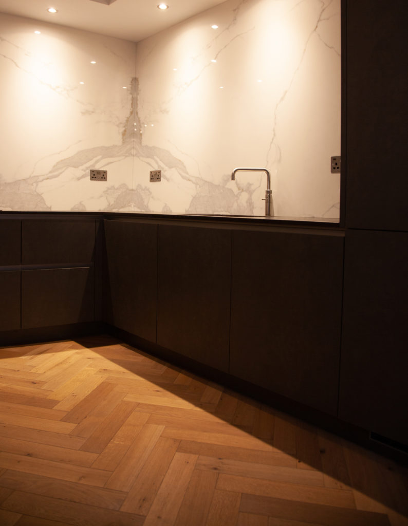 Kitchen with wood floor and neolith countertop