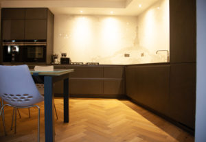 Kitchen with engineered wood floor