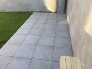 Outdoor porcelain patio area