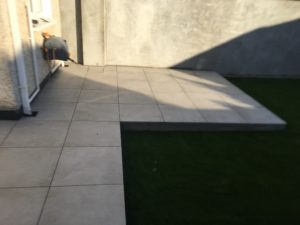 Outdoor porcelain patio area