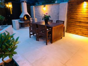Garden with 20mm porcelain patio bbq area