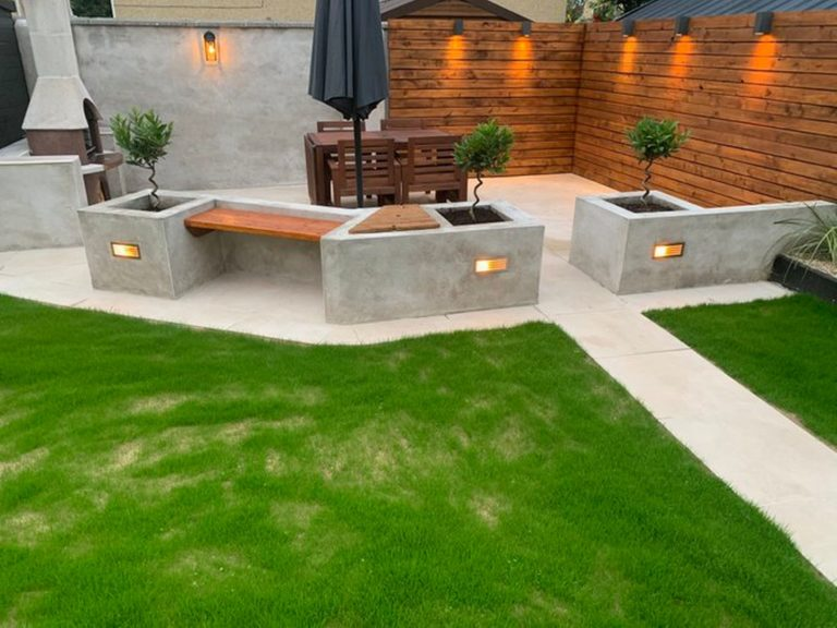 Garden patio created using 20m outdoor porcelain