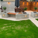 BBQ area created with 20mm porcelain paving