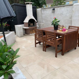 Garden Makeover created with 20mm porcelain paving