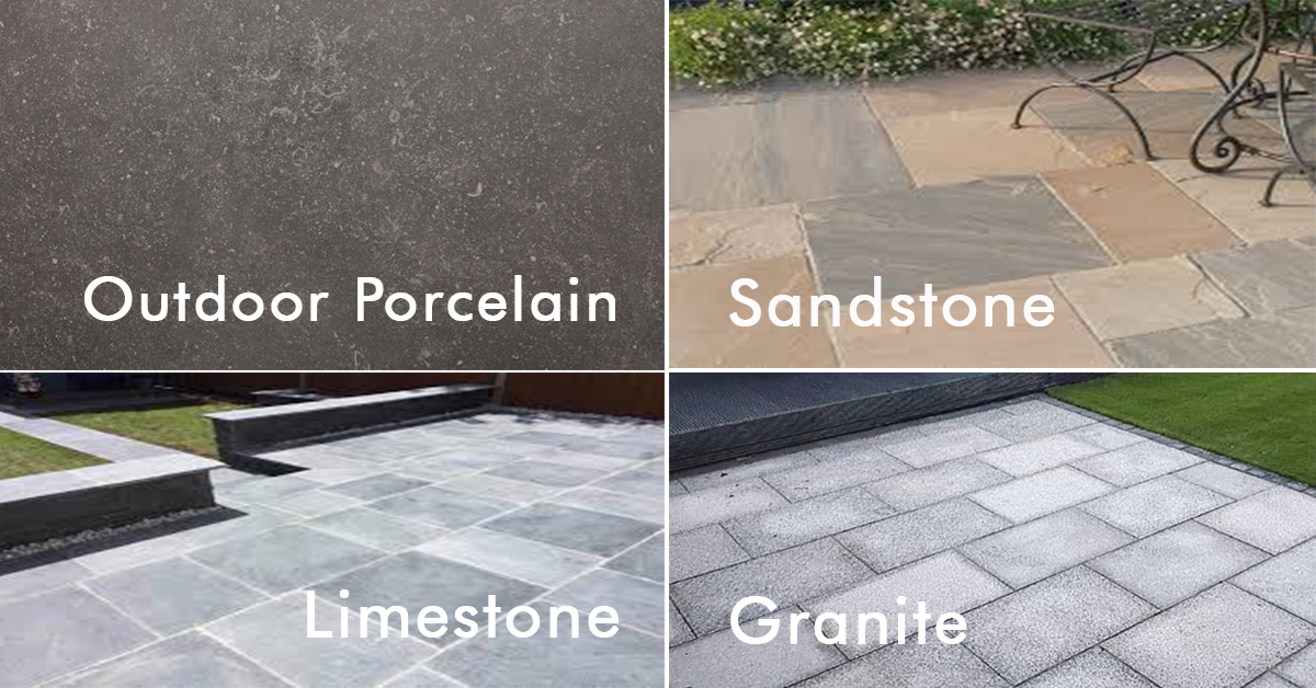 Four Different Slabs, Porcelain, Limestone, Sandstone and Granite Paving Slabs