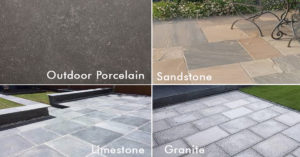 Four Different Slabs, Porcelain, Limestone, Sandstone and Granite