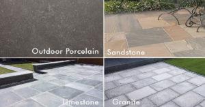 Four Different Slabs, Porcelain, Limestone, Sandstone and Granite