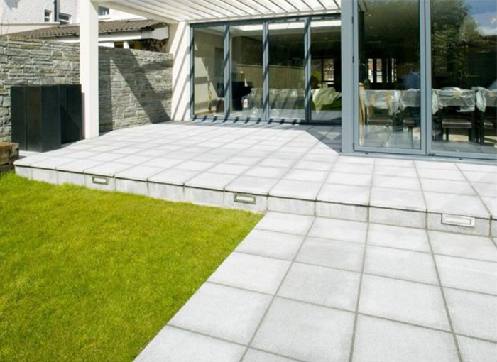 Granite Paving Slabs For Gardens Paired with Artificial Grass