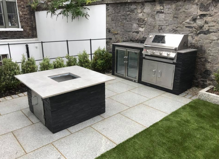 Granite paving around a bbq