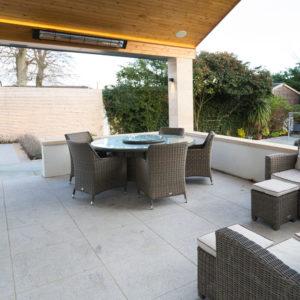 Granite patio underneath veranda