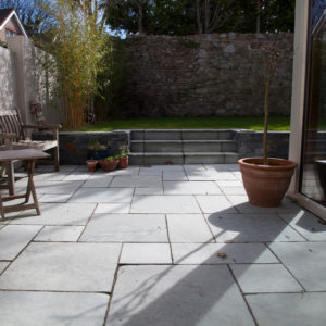 Garden patio created with Kota Grey Limestone