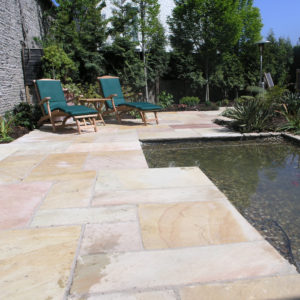 Mint sandstone patio with water feature