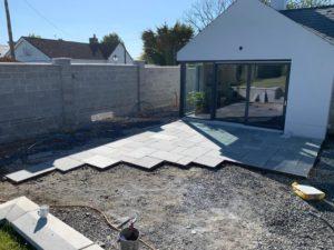 Garden patio created using natural stone