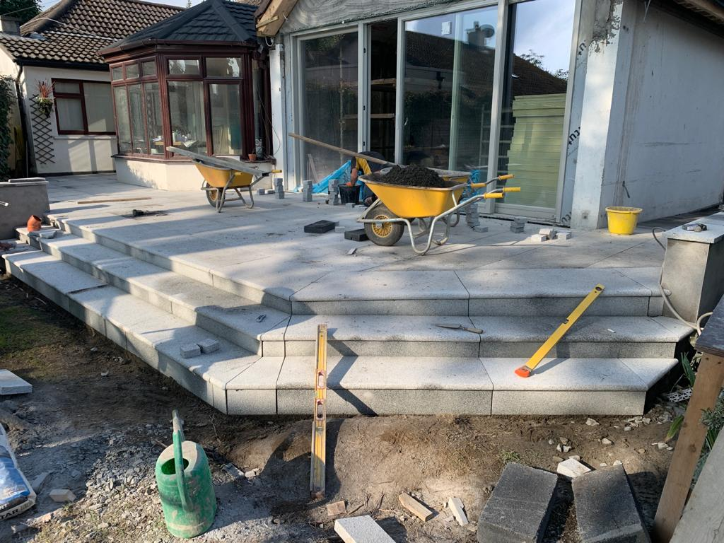 Patio in the progress of being installed
