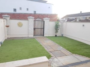 Artificial grass is a very popular option in Irish back gardens