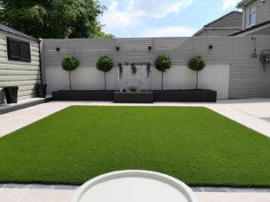 artificial grass and outdoor tiles