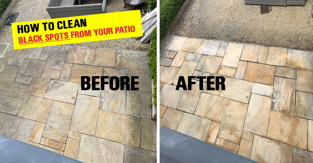 How to clean patio stone from black spots