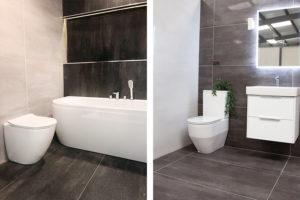 Dark large tiles in a bathroom