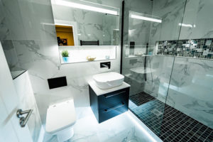 Large tiles installed in a bathroom