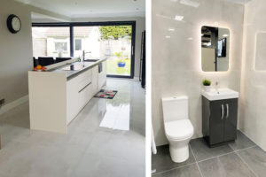large tiles installed in bathroom and kitchen